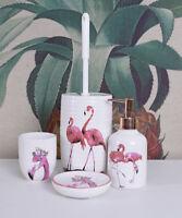 Badset Flamingos Bürstengarnitur WC Garnitur Seifenspender Klobürste Porzellan