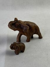 Vintage Elephant Set Mom And Baby Brown Collectible