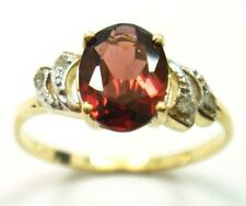 BESTJEWELLERY 10KT YELLOW GOLD OVAL NATURAL GARNET& DIAMOND RING SIZE 7 R1412