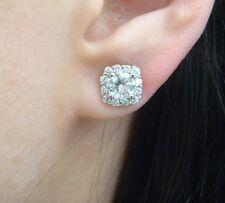 HIGH END 2 CARAT T.W. HALO DESIGN DIAMOND STUD EARRINGS 14K WHITE GOLD
