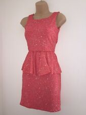 QUIZ Ladies Lovely Coral Glitter Peplum Open Back Stretch Dress Size 8