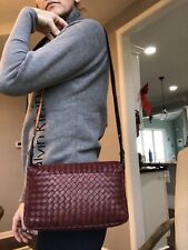 Bottega Veneta Intrecciato Maroon Zip Shoulder bag Hobo Handbag Burgundy Purse