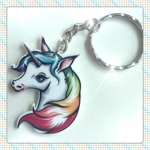 Rainbow Unicorn Handmade Resin Keyring Bag Charm For Gift Birthday Christmas #1