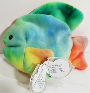 """RARE ODDITY! TY Beanie Babies """"CORAL (Website Missing!)"""" TIE-DYED Fish - MWMTs!"""