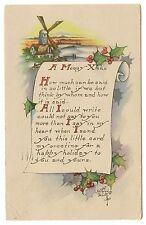 VINTAGE KATHRYN ELLIOT SIGNED CHRISTMAS POSTCARD WINDMILL SUNSET SNOW HOLLY 1922