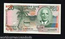 MALAWI 20 KWACHA P26 1990 BOAT AIRPLANE UNC WORLD BILL MONEY AFRICA BANK NOTE