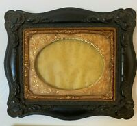 Antique Carved Wood Picture Frame w/ Stamped Foil Insert (orig for tin type pic)