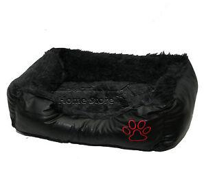 LARGE Soft Comfy REX LEATHER & FUR Washable Dog Pet Cat Warm Basket Bed BLACK