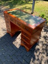 More details for vintage style leather top captains desk made by j. sydney smith, leeds