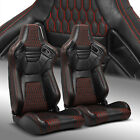 2 x Reclinable Black +Red Stitching PVC Leather Left/Right Racing Bucket Seats