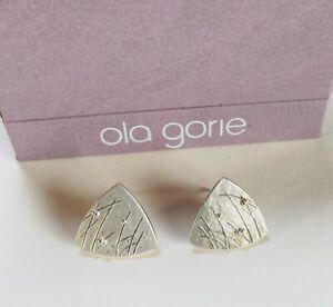 OLA GORIE STERLING SILVER SCOTTISH DRIFT PIERCED EARRINGS (boxed)