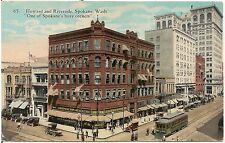 Corner of Howard and Riverside in Spokane WA Postcard