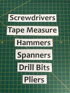 Tools Storage Vinyl Labels - Set of 6 - Screwdrivers,Hammers,Spanners,Pliers etc