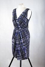 L216/L07 Banana Republic Blue Check Cotton/Silk Wrap Sleeveless Dress, size 10