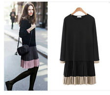 065 Korean Women's Fashion Casual Cardigan Knit Sweater Blouse Top Dress Black