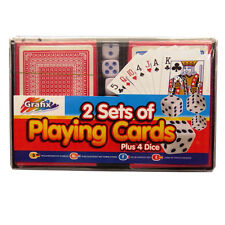 Playing Cards with Dice – 2 Sets of Cards with 4 Dice and Storage Case