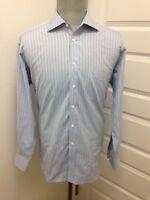 IKE BEHAR 100% Cotton White and Light Blue Striped Long Sleeve Dress Shirt 17/34