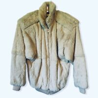 Carole Little Womens Jacket Coat Ivory Zip Up Faux Fur High Neck Lined S