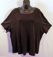 Bargain W/Stain WHITE STAG Plus Size 22W/24W Rib Knit Black Top Short Sleeves
