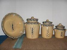 "Vintage 7 PC. Set Roseville Pottery ""Blue Wheat Spongeware""  RRP Ohio"