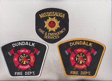 Mississauga & Dundalk gold & white edge Canada Fire Dept. patches