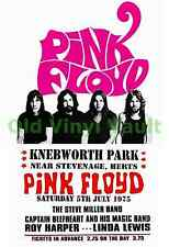 Pink Floyd Concert Poster Knebworth Park 1975 A3 Size Repo
