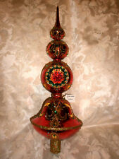 Christopher Radko Extravagant Reflection Glass Gold Red Green 1019513 Finial