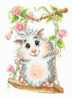 Cross Stitch Kit On the swing (hamster) art. 19-13