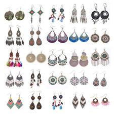 Vintage Women Bohemian Boho Style Multicolor Beads Tassel Charm Dangle Earrings
