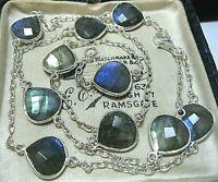 Vintage Style Sterling Silver Natural Labradorite Moonstone Bezel Set Necklace
