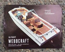 Vintage 18' WEBBCRAFT MERCRUISER Boat Dealer Sales Brochure Spec. Sheet 1970's