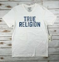 Mens True Religion Jeans T-Shirt Top Graphic Logo Tee Off White V-Neck L XL 2XL