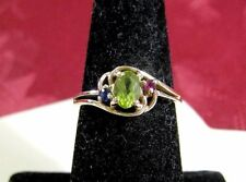 14K YELLOW GOLD GENUINE PERIDOT SAPPHIRE RUBY RING SIZE 7
