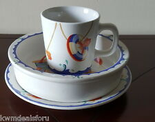 Collectible Tiffany Seashore Children's Cup Bowl Saucer Porcelain Dishes Set