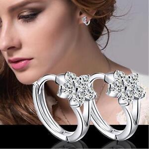 Shiny 925 Sterling Silver PLT Cubic Zirconia CZ Flower Huggie Loop Hoop Earrings