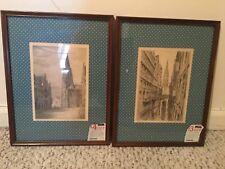 Vintage Antique German Paul Geissler Signed Set of 2 prints Hamburg and Munster