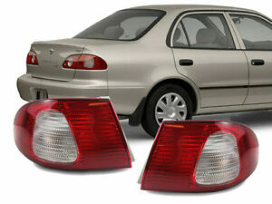 *adria-7820* JDM Red / Clear Rear Outer Tail Lights for 98-02 Toyota Corolla