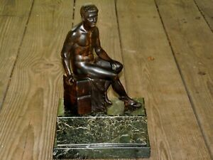 ANTIQUE BRONZE FABER SCULPTURE STATUE ON HEAVY MARBLE BASE SIGNED SCHUMACHER