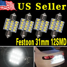 4 X PURE White 31MM 12SMD Festoon Dome Interior LED Light bulbs DE3175 3021 6428