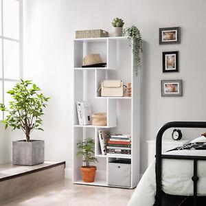 VASAGLE Bücherregal Raumteiler Standregal Aufbewahrungregal Regal Holz Weiß