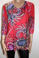 Millers Brand Rose Paisley 3/4 Sleeve V Neck Hi Lo Top Size 18 BNWT #TQ60