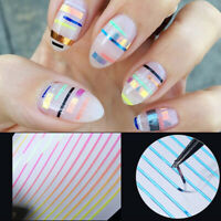 Gradient Line 3D Nail Stickers Red Blue Nail Art Decals Nail Tips Decoration DIY