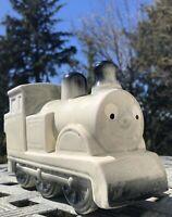 Vintage Ceramic Train Locomotive Coin Bank Figural Anthropomorphic Eyes