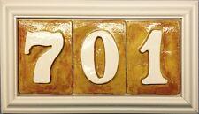 New listing Number sign plaque house tile address. Weatherproof - handmade tiles. Applewood