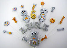 Robots, little robots, character birthday cake topper, personalised name and age