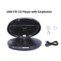CD Player Music FM Radio Player Built-In HiFi Disc Walkman Portable W/ Earphones
