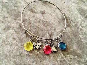 Silver Love Heart & Crystal Fully Adjustable Bangle Charm Braclet