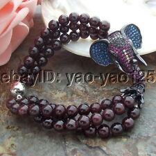 3Strsnds 8'' Natural 6mm Garnet Bracelet CZ Pendant