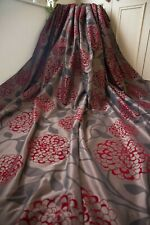 NEXT BROWN RED PAIR CURTAINS,53WX90D,VELVET FLOCKS,TAFFETA,SHEEN,LINED,EYELET