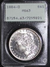1884-O Morgan Silver Dollar PCGS MS63 OGH Rattler Holder